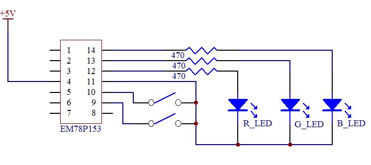 em78p153 rgb led渐亮渐暗控制器