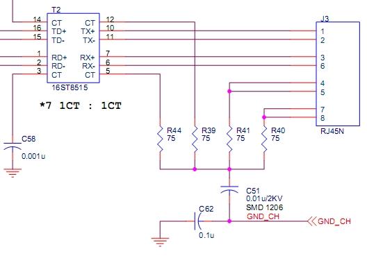 rj45与变压器的接法