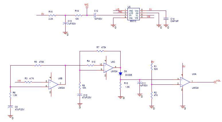 1: 这是个耦合电容,正负的方向要根据电路情况确定。主要依据是判断电容边电路的静态电压,电压高的一边连接电容正极。比如这个电路,电容接MIC这边的电压估计1~3V,接X9313这边是0V,因而电容正极与MIC相连。一些三极管放大电路中,基极偏置电压可能会比MIC这边的电压还要高,这时就需要把电容方向反过来。用无极性电容就不用考虑这方面,只要成本允许。 2:C9,C10的容量要根据待处理的信号带宽确定,这个电容对信号频带低端以下的无用信号加以滤除,包括超低频的零点漂移。可以看成是高通滤波器的作用。具体计算可