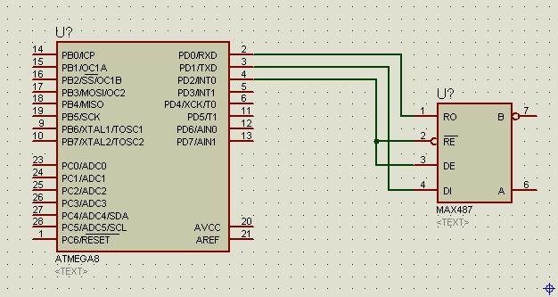 我是一只菜菜鸟没搞过硬件但项目需要就要硬着顶上去以下是我的接线图是485通信的现在只是要实现最简单的通信就是发一个字节返回一个字节就行了  (原文件名:截图00.jpg) 下面是代码: #include <iom8v.h> #include <macros.h> #define D2_CLR PORTD &=~(1<<PD2) #define D2_SET PORTD =(1<<PD2) #define R_485 D2_CLR #define W_
