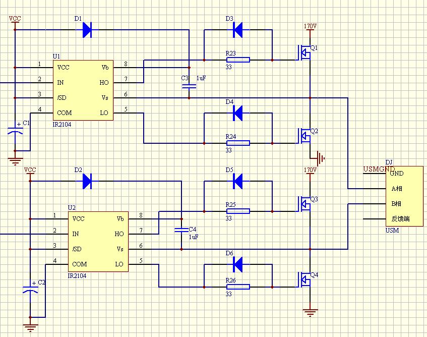 频率40khz,电流3a的矩形波   电路图如下所示   自举电容c3,c4和q1,q2