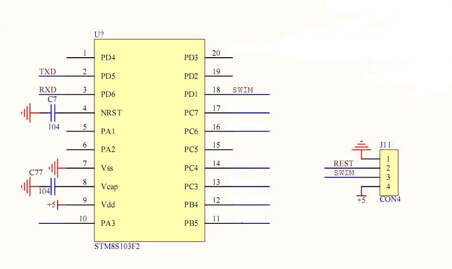 stm8s103f3p6 电路图
