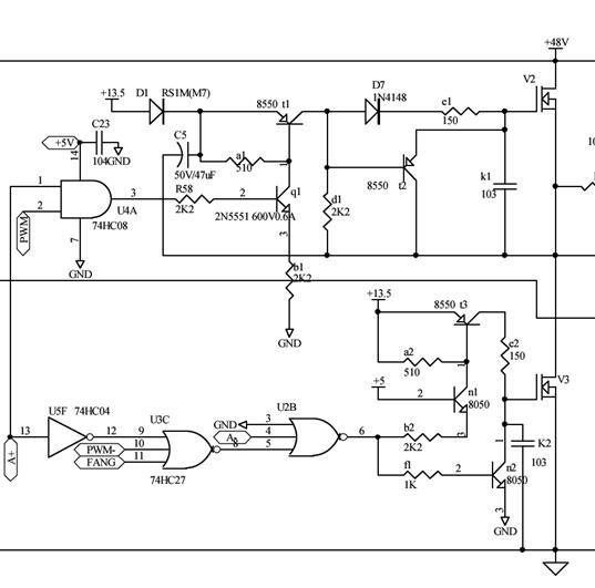 看了无刷电机驱动分析的帖子,有2个问题没懂,请高手指教:见下图 1. 无刷电机采用的 N沟道MOS管 ,常用的P75NF75,G极控制要高于 S极电压,所以采用了 高压浮栅型驱动电路 ,但为什么 下桥部分的没有采取这个电路? 2. 再有就是 上下桥的MOS管 是否是同一个型号? 看分析说的是下桥的质量要比上桥的质量好些,因为上桥关闭时,要靠下桥部分的续流。 目前市场上P沟道的MOS管价格基本与N沟道的MOS管价格一样,如果采用P沟道的MOS管,是不是控制简单些了。当然那些硬件保护及门电路逻辑及延时电路等还