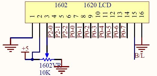 lcd1602引脚接线图