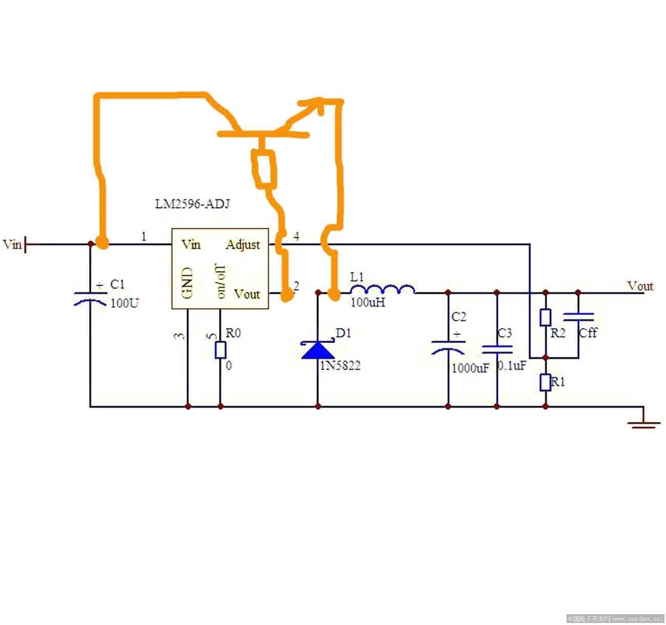 2596的射极输出方式并不合适于直接加管扩流,如果要扩流,34063会灵活很多,因为它可以提供不同的输出方式。 如果一个S极输出NMOS导通,G极需要一个比D极大10V左右的驱动电平,所以,2596+MOS管扩流的方案不现实。 2596的工作频率和输出电流比34063要高,但这个和可靠性并不相关,是否可靠还是看你的工作条件是否安全。