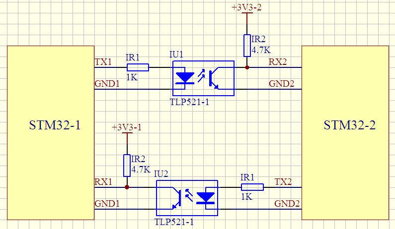 stm32串口通信的光耦隔离,这个电路可以吗?