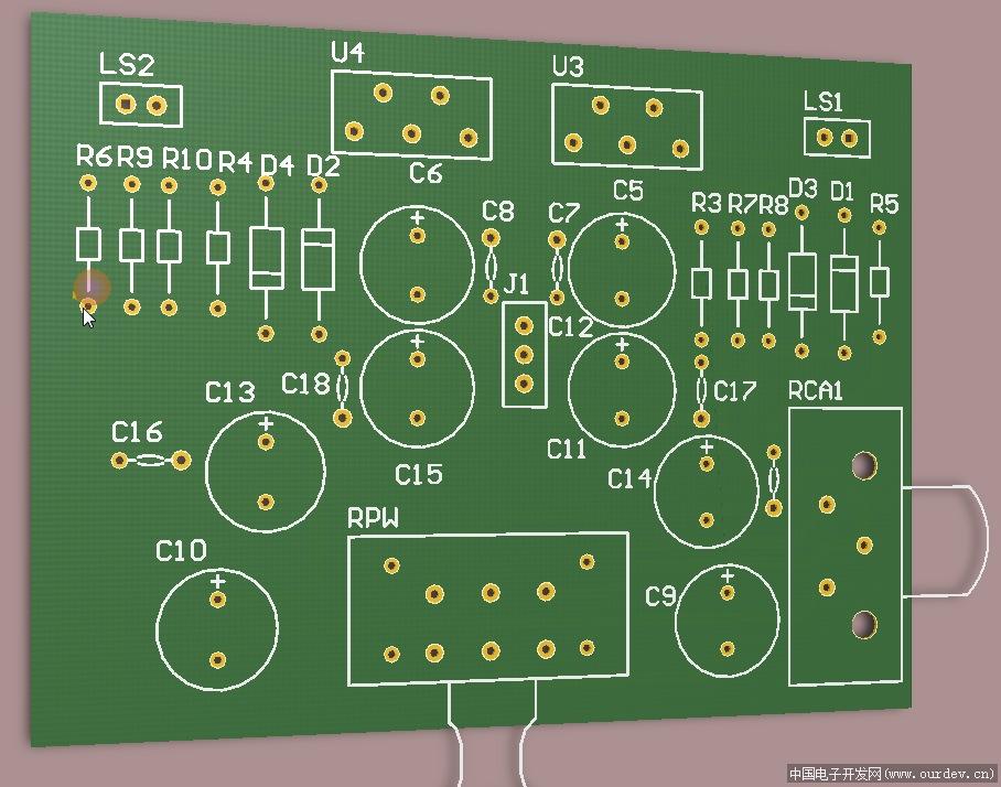 一个双声道tda2030功放板pcb