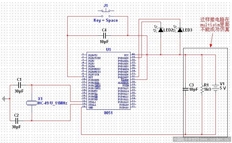 led交替闪烁有面包板的电路图