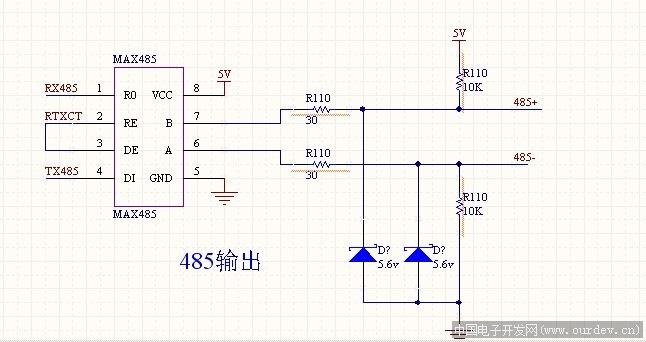 求一个max485典型通信电路