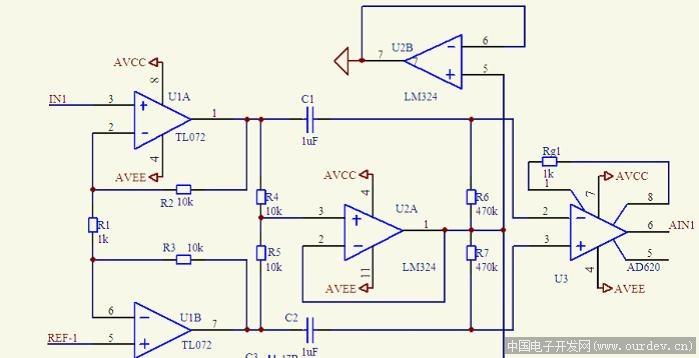 U1A和U1B的3、5脚,即接人体的脑电极 (原文件名:图一.jpg)  U1A和U1B的2、6和放大输出的1、7脚 (原文件名:图2.jpg) 手机存储卡折腾了半天,总的来说1喽图中3、5脚和人体直接接示波器的波形差不多,Vpp在1V左右(图上波形都是1V一个栅格),而2、6脚的波形不知为何是图2那样,按道理不是和3、5脚分别相同么(虚短虚断),且放大输出后波形比2、6脚基本没变,分析不出来。 猜想:可能3、5脚输入时人体和电路地不能形成共低(但是很多论文和我以前万能板都这样做的,而且也有效果)。 试