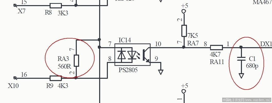plc输入光耦的电阻 电容的作用