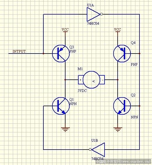 一个io实现直流电机的正反转
