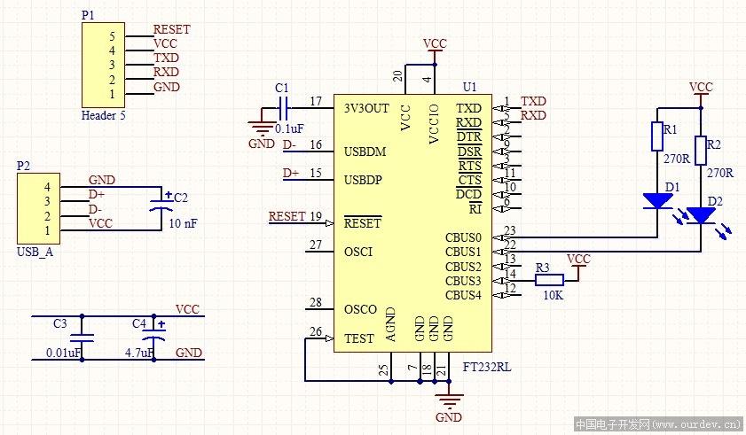 ft232串口接线图