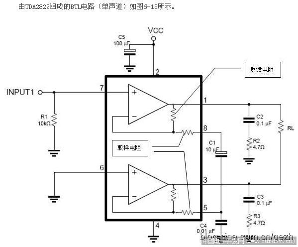 回复【9楼】AIDN ----------------------------------------------------------------------- 用TDA2822试了下,确实好用,效率还可以,效果挺好。  2822M的BTL接法 (原文件名:TDA2822的BTL接法.JPG) 回复【10楼】sypf ----------------------------------------------------------------------- 有点麻烦哈,不过刚才试过方波,也能用。查了