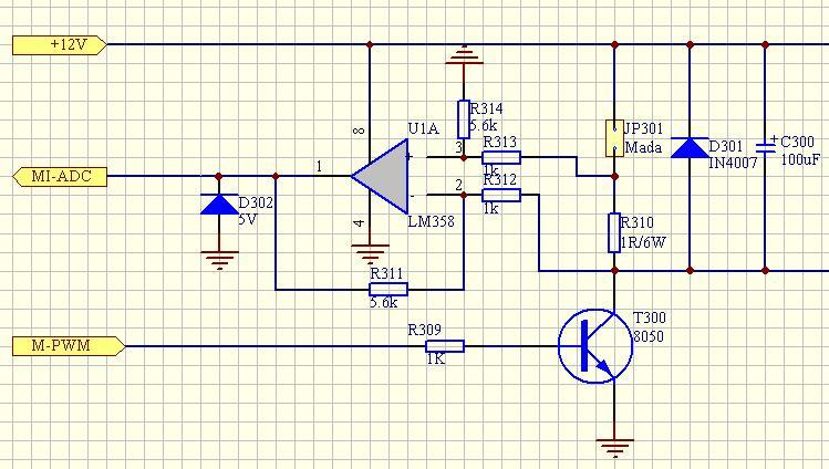 就是用一个三级管调压   中间是电流采样电路,电机电流不超过1a,运放