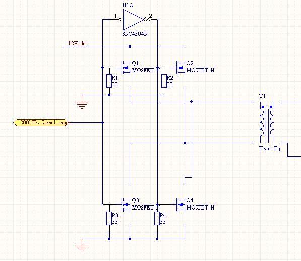 我现在用mosfet想做一个简单的逆变电路。把12v直流电变成200KHZ的高频交流电。 用的mosfet是2n7000。 这样用是可以的吗 一般的简单逆变是这样做的吗? 我是第一次做逆变电路。很多东西不知道啊。请各位高手帮忙指点一下 下面是主电路图  -----此内容被ca770于2007-01-15,16:59:57编辑过