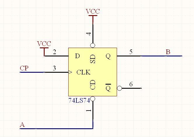 d触发器(74ls74)这样接实现什么功能?