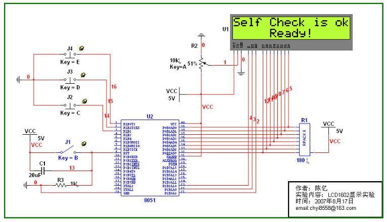 从研学论坛转:本来想在网上找一下Multisim10单片机仿真的例子,找了半天,什么也没找到,于是自己研究了一天,终于搞出一点点名堂出来了,与大家共享一下,愿与各位相互学习。 仿真内容: 8051与LCD1602连接,通过C编程来控制LCD的显示,外接四个开关,一个硬件复位开关,另外三个是功能开关。LCD的背景光对比度通过电阻可调。仿真时刚开始比较慢,可能是由于程序编译的较慢,过1ms左右即可正常工作。