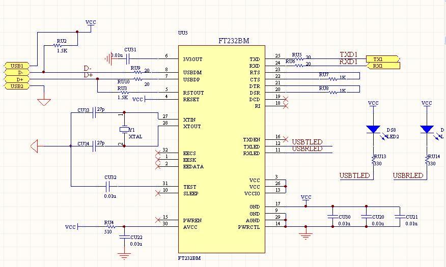 我画的ft232bm电路图对吗