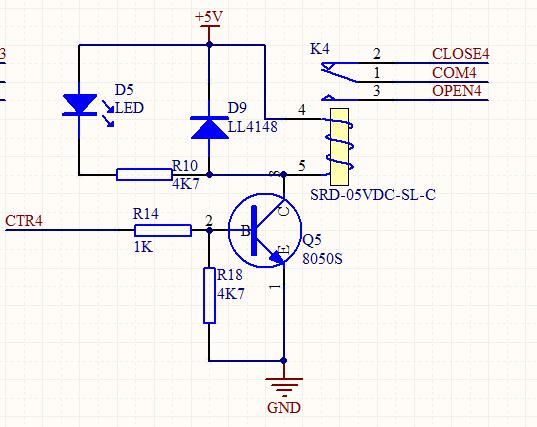 继电器控制电路,原理图如下